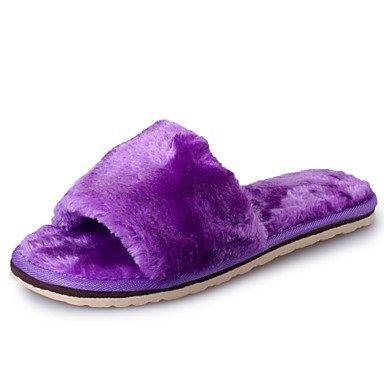 zhENfu donna pantofole & amp; flip-flops Primavera Estate Autunno Inverno di montone Casual tacco piatto Grigio Nero Fuchsia luce blu porpora a piedi Light Purple