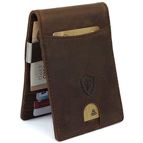 Portafoglio in pelle Vael Men's Leather Wallet in vera pelle vintage con clip per biglietti | RFID Anti-Bank Piracy Lock | Portafoglio sottile con clip metallica