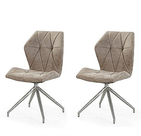 Stühle, Esszimmerstühle, 2er-Set, Stühle, Sitzgelegenheiten, Esszimmer, Essbereich, grau, braun, Vintage, Stoff, Edelstahl, Sitzplatz, drehbar