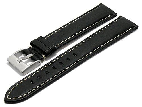 Meyhofer Uhrenarmband XL San José 24mm schwarz Leder genarbt helle Naht MyPlklb3027/XL/24mm/schwarz/hN