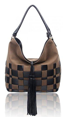 LeahWard® Damen Prüfen Tassel Schultertaschen nett Kunstleder Groß Handtaschen FLAX greifen Handtasche