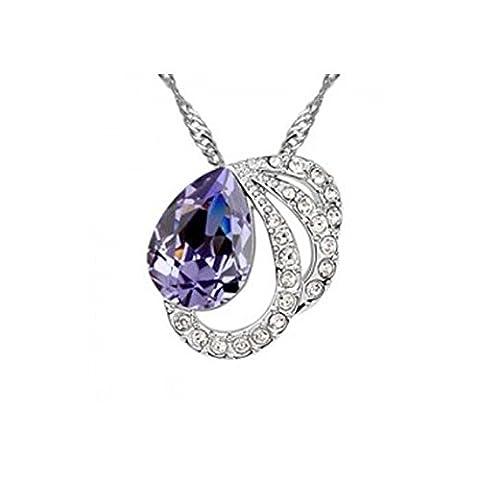 Collier cercle goutte cristal swarovski elements plaqué or blanc Couleur Violet
