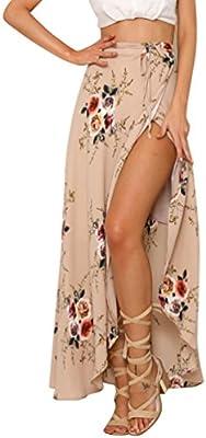 LvRao Mujeres Flor Impresión Vestido largo Split lateral Falda Estilo Vintage Alta Cintura Vestidos