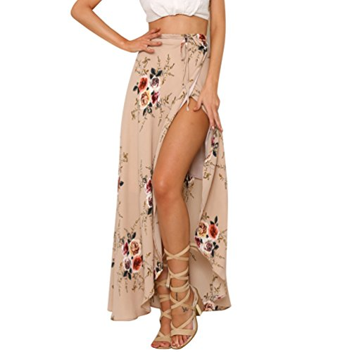 LvRao Mujeres Flor Impresión Vestido largo Split lateral Falda Estilo Vintage Alta...