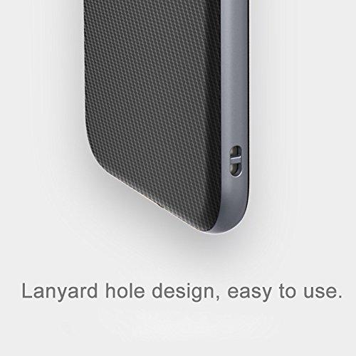 iPhone 8 Plus, 7 Plus Carbonfaser-Rüstungs-Etui, Rock® [Vision-Serie} - gebürstete Textur, Tropfenschutz, Anti-Kratzer, stoßfeste, schützende, harte Rückenabdeckung mit Schlittenloch - schwarz Grey