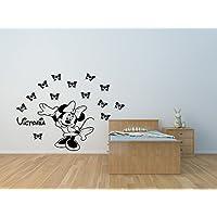 Minnie Maus Vinyl Wandtattoo Aufkleber mit Schmetterlingen und Ihrer Wahl des Namens. Personalisierte Minnie Mouse Wandtattoo.
