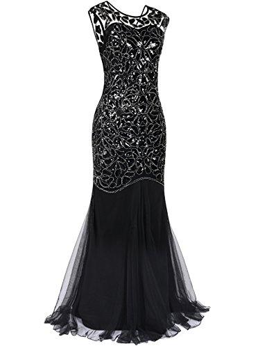 Kayamiya Damen Gatsby Kleid 1920er Perlen Pailletten Maxi Lange Charleston Meerjungfrau Abendkleid 40-42 Meerjungfrau Schwarz - 2