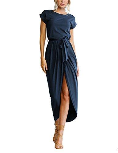 ISASSY Women's Summer Boho Belted Long Maxi Dress Short Sleeve Beach Sun Dress Wear Evening Party Cocktail Casual Dresses