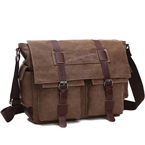 Super Modern Vintage Messenger Bag Military Canvas Tasche Freizeit Reisen Tasche Umhängetasche Schultertasche Coffee1