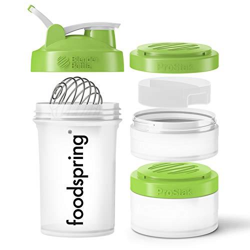 foodspring Premium Eiweiß Shaker, 650ml, Blender Bottle ProStack, BPA-frei, 2 Behälter & 1 Pillenfach für unterwegs, einfache Reinigung 1 Shaker Bottle