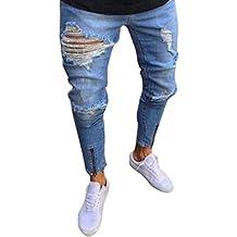09da18c0bd57 Elecenty Pantaloni sportivi da uomo Pantalone attillato strappato da uomo  slim fit biker con cerniera jeans
