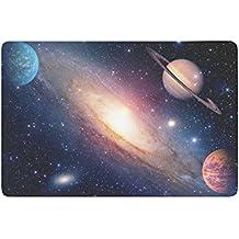 interestprint Astrología Astronomía Saturn espacio ultraterrestre antideslizante Felpudo decoración para el hogar, sistema Solar planetas Galaxy interior al aire libre Entrada Felpudo de goma Felpudo 23.6x 15,7pulgadas
