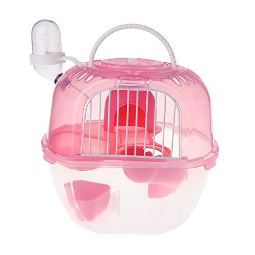 Biniwa – 1 Stück Hamster-Käfig, tragbar, für unterwegs, doppellagig, für Mäuse, Rennmäuse, Meerschweinchen, langlebig und leicht