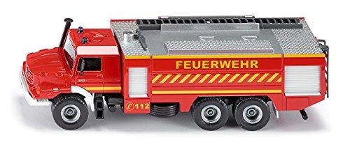 SIKU 2109, Voiture de pompiers Mercedes-Benz Zetros, 1:50, Métal/Plastique, Rouge, Echelle amovible