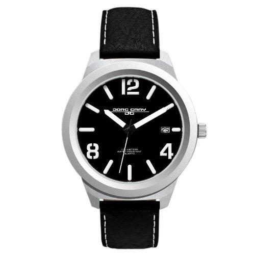 Jorg Gray JG1950-11 - Reloj analógico de caballero de cuarzo con correa de piel negra - sumergible a 100 metros