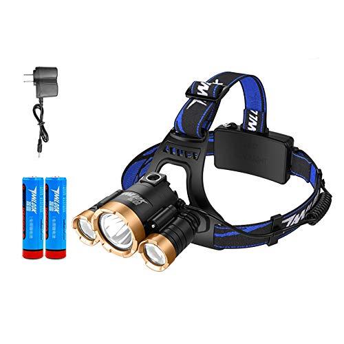 Lampe Frontale LED Rechargeable par USB Torche Frontale Puissante à 3 Modes D'éclairage Portée De 300 Mètres Imperméable Léger Mini Lampe Frontale (2 Piles Incluses),Gold