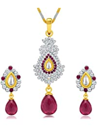 Sukkhi Divine Gold And Rhodium Plated AD Kundan Pendant Set For Women