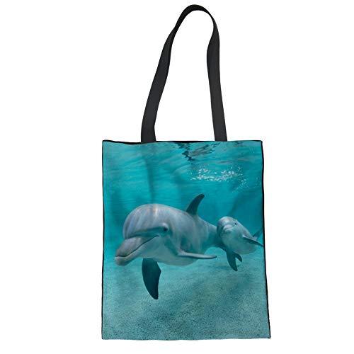 (Nopersonality Fashion Casual Einkaufstasche aus Baumwollleinen groß, Textil, Delfin, Large)