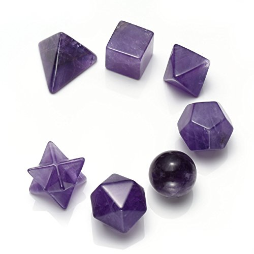 Manifo - Juego de geometría de chakra cristalina platónica, curación de energía Reiki tallada a mano, joyería de piedras preciosas para meditación