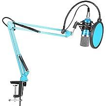 Neewer Profesional Estudio Kit de Micrófono de Condensador para Grabación de Radiodifusión - NW-700 Micrófono(Azul), Soporte de Brazo de Tijera de Suspensión Boom Negro, Montaje de Choque y Pop Filtro