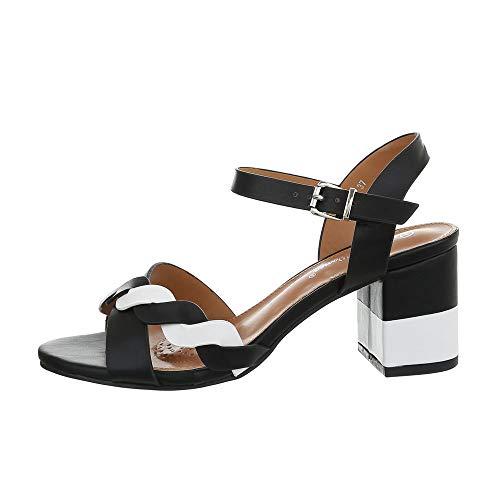Schwarz Kleid Sandalen (Ital-Design Damenschuhe Sandalen & Sandaletten High Heel Sandaletten Synthetik Schwarz Weiß Gr. 38)