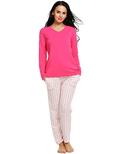 Tiowea Women Casual Two Pieces Pajamas V-Neck Long Sleeve Solid T-Shirt and Printed Long Pants Set Zierverkleidungen