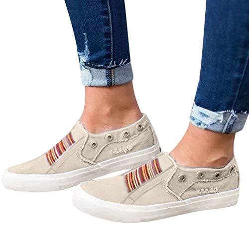 Low Übergrößen Sportschuhe für Damen/Dorical Frauen Slip on Canvas Sneakers, Casual Turnschuhe, Bequeme Outdoor Fitnessschuhe, Leichte Halbschuher Damenschuhe 35-43 EU Ausverkauf(Beige,39 EU)
