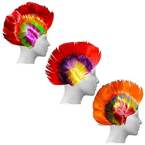 Kurtzy Pack de 3 Pelucas Multicolor Mohawk para Fiestas, Cumpleaños y Disfraces - Pelucas Pelo en Pincho con Red para Hombres, Mujeres, Chicas y Chicos - Peluca sin Enredos