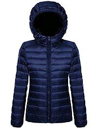 BELLOO Damen Daunenjacke Steppjacke Übergangsjacke zusammenklappbar leicht  Winter Warm Jacke mit Kapuze 0782d84cb6