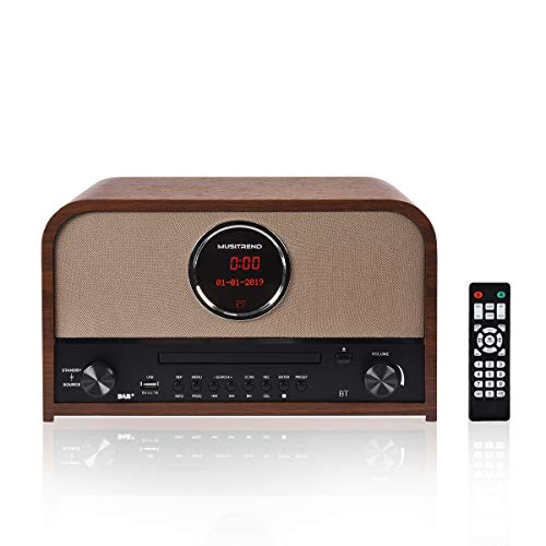MUSITREND Retro DAB+/FM Stereo-Radio mit CD-Player und Bluetooth, Nostalgie Radio mit integriertem Breitbandlautsprecher, Küchenradio Holz