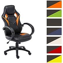 CLP Silla Gaming / Silla de oficina MAGNUS, asiento de LUJO ajustable en altura, revestimiento de cuero sintético naranja