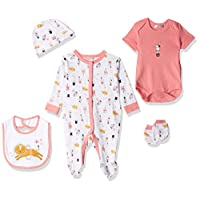 Lilly And Jack Circus Print Clothes for Baby Girls, 0-3 Months - Pink, Pack of 5