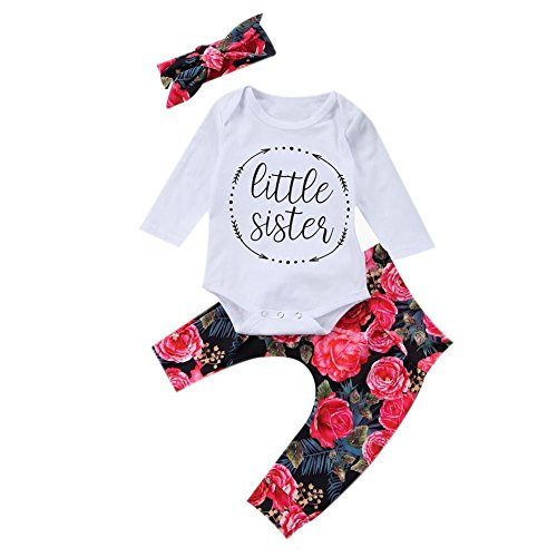 Blumen Baumwolle Pjs (Wongfon Infant Baby Jungen Mädchen Langarm Body Set 3 Stück kleine Schwester Langarm Strampler + Pfingstrose Blume lange Hosen + Blume Bowknot Stirnband Outfit)