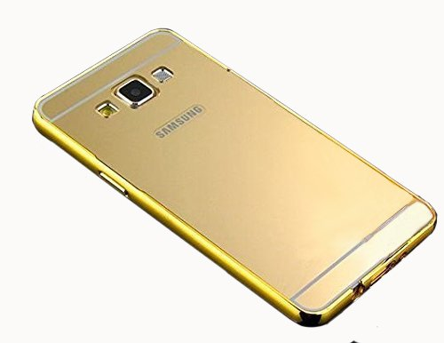 CEDO Premium Luxury Metal Bumper Acrylic Mirror Back Cover Case For Samsung Galaxy J7(6) (2016) SM-J710 - Gold
