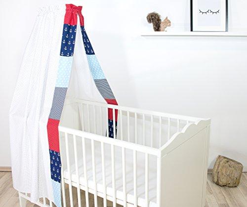 ULLENBOOM ® Baby-Betthimmel- in 10 Farbdesigns (135×200 cm Baldachin, 100% Baumwolle, für 60×120 cm & 70×140 cm Kinderbetten, Patchwork)
