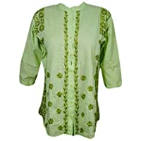 Mogul Interior Ladies Peasant Top Tunic Cotton Hand Embroidered Pleated Blouse Shirt