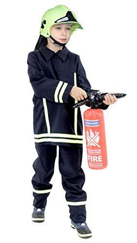 Foxxeo Feuerwehr Kostüm mit Feuerwehr Helm für Kinder Faschingskostüm Jungen Größe:104/110