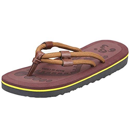 Yiiquan Herren Sommer Zehentrenner Strand Sandalen Slipper Freizeit Flip Flop Braun #2