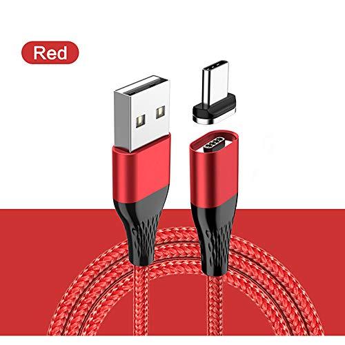 ZUEN USB-Kabel, magnetisches 1M 3A-Schnellladedatenkabel, geeignet für Apple-Geräte/Android-Geräte/Typ C-Schnittstelle, Unterstützung der Datenübertragung,Red,forAndroid