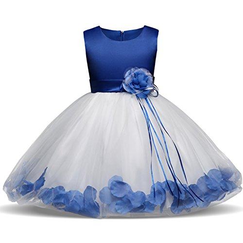 Blütenblätter Schleife Brautkleid für Kleinkind Mädchen Größe 4-5 Jahre Großes Blau 1 ()