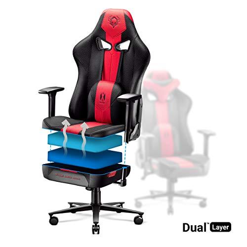 Diablo X-Player Silla Gaming Oficina Apoyabrazos 3D Diseño Ergonómico Cuello/Cojín Lumbar (Antracita-carmesí)