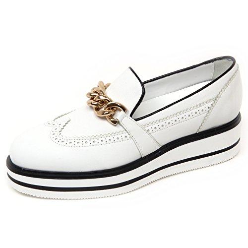 D0614 mocassino donna HOGAN H323 n. route zeppa bianco/nero slip on shoe woman Bianco