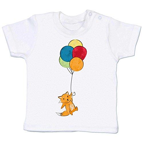 Sein Mama Zu Ballon (Shirtracer Tiermotive Baby - Fuchs mit Ballons - 3-6 Monate - Weiß - BZ02 - Babyshirt kurzarm)