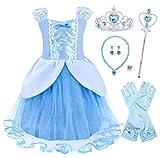 AmzBarley Principessa Cinderella Vestire Costume per Bambini Ragazze Halloween Cosplay Festa (5-6 Anni, Blu con Decorazioni)