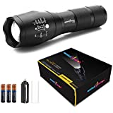amiciVision 2000 Lumens T6Water Resistance Adjustable Focus Metal LED Flashlight with 3 AAA Duracell Battery Torch (Black)