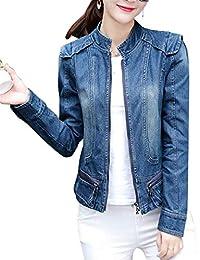 ad59d9e0f054fe Emmala Autunno Collo Coreana Zip Jeans Giacca Donna Eleganti Manica Lunga  Jeans Giacca Casuale Fidanzato Outerwear