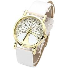 JSDDE Reloj Pulsera Cuarzo Mujer Analógico Simplista Diseño Árbol de la Vida Original, Caja Dorada, Banda de Cuero PU, Blanco