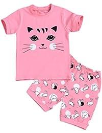 abe92120fc1e6 Ensembles de Pyjama Fille Bonjouree T-Shirt Manches Courtes Imprimé  Chat Panda et Shorts