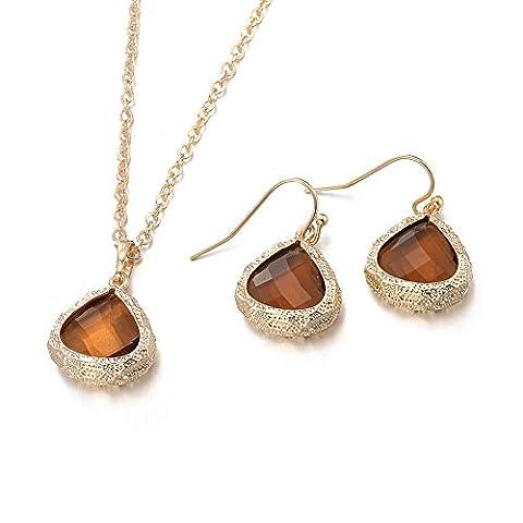 Modische Kupfer Kristall Halskette Ohrringe Anzug,Antikes Gold überzogen