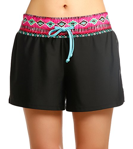 Damen UV Schutz Badeshorts Schwimmen Bikinihose Wassersport Schwimmshorts Boardshorts Schwarz mit Rot Größe S